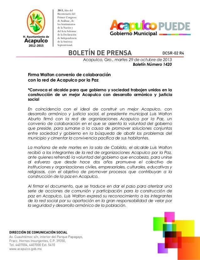 Comunicado - Convenio de colaboración Acapulco por lapaz y Ayto de Acapulco