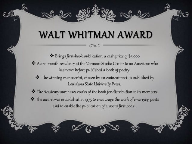 Walt Whitman award