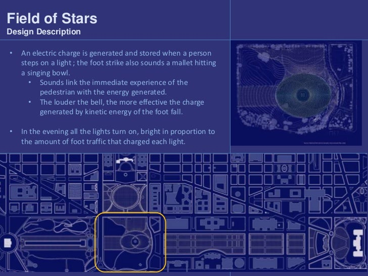 Field of Stars<br />Design Description<br /><ul><li>An electric charge is generated and stored when a person steps on a li...