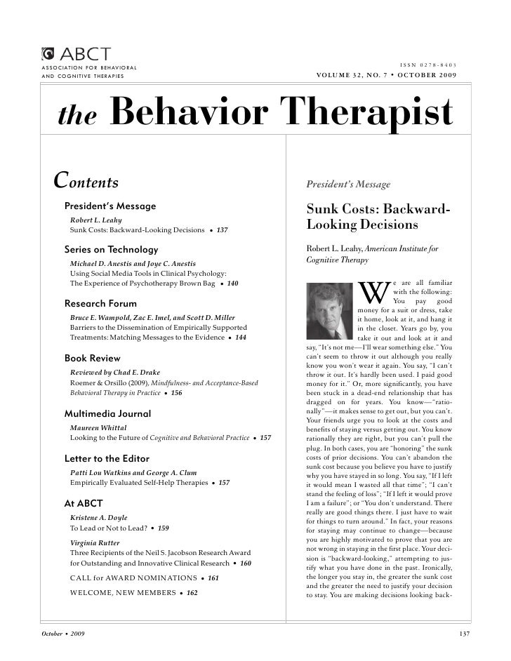 ISSN 0278-8403 ASSOCIATION FOR BEHAVIORAL AND COGNITIVE THERAPIES                                                        V...