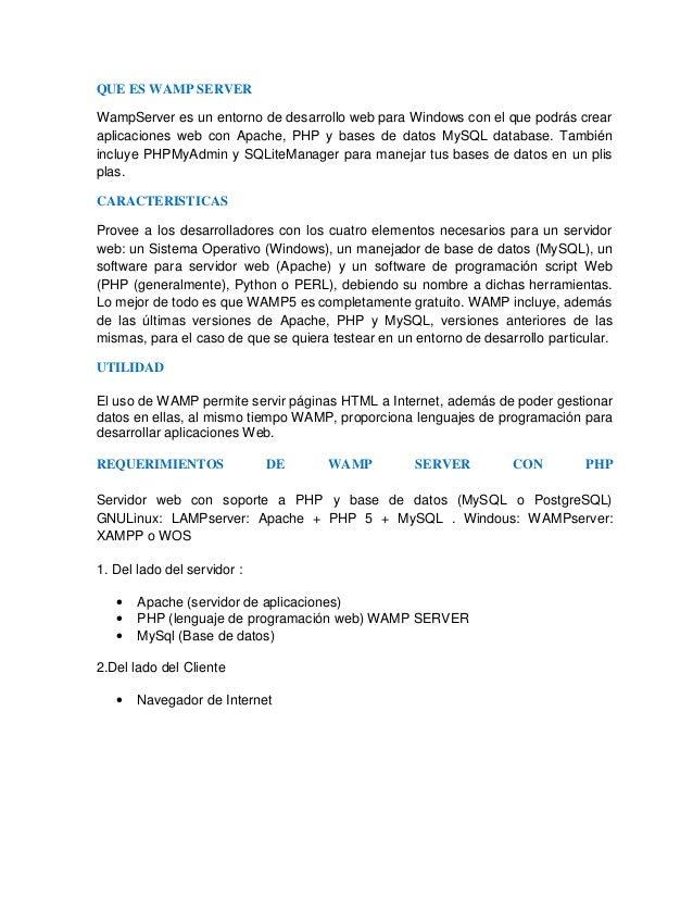 Wampserver caracteristicas y especificaciones