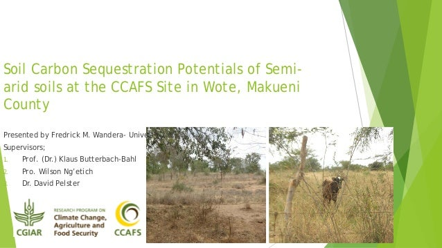 Soil Carbon Sequestration Potentials of Semiarid soils at the CCAFS Site in Wote, Makueni County Presented by Fredrick M. ...