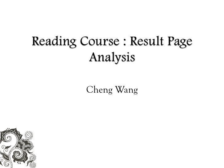 Result Page Analysis (Cheng Wang)
