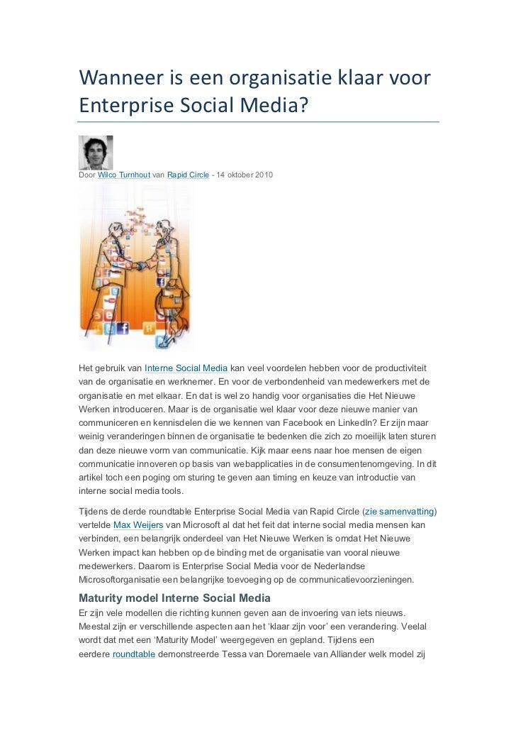 Wanneer is een organisatie klaar voor Enterprise Social Media? Door Wilco Turnhout van Rapid Circle - 14...