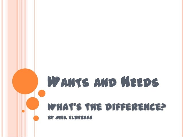 WANTS AND NEEDS What's the difference? By Mrs. Elenbaas