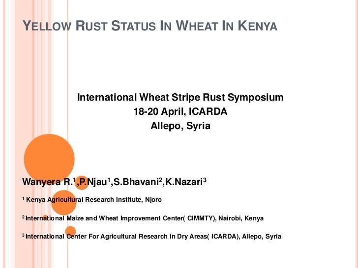 YELLOW RUST STATUS IN WHEAT IN KENYA                     International Wheat Stripe Rust Symposium                        ...