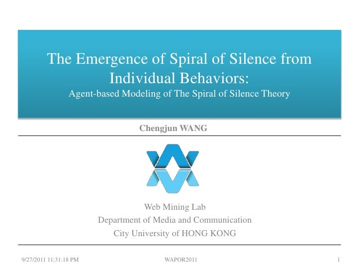 The Emergence of Spiral of Silence from Individual Behaviors: Agent-based Modeling of The Spiral of Silence Theory<br />We...