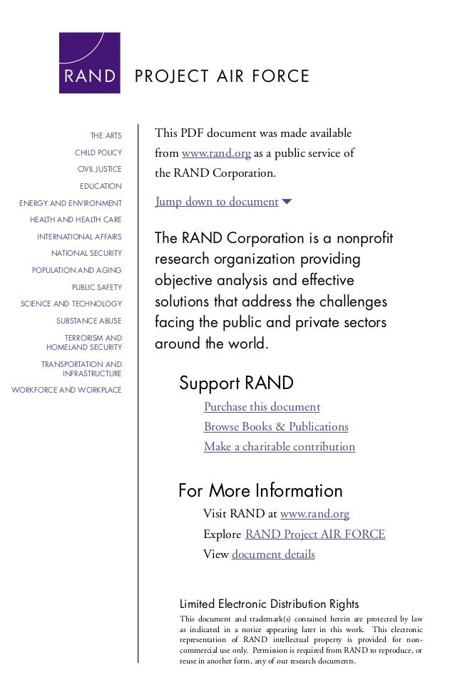 THE ARTS  This PDF document was made available  CHILD POLICY  from www.rand.org as a public service of  CIVIL JUSTICE  the...