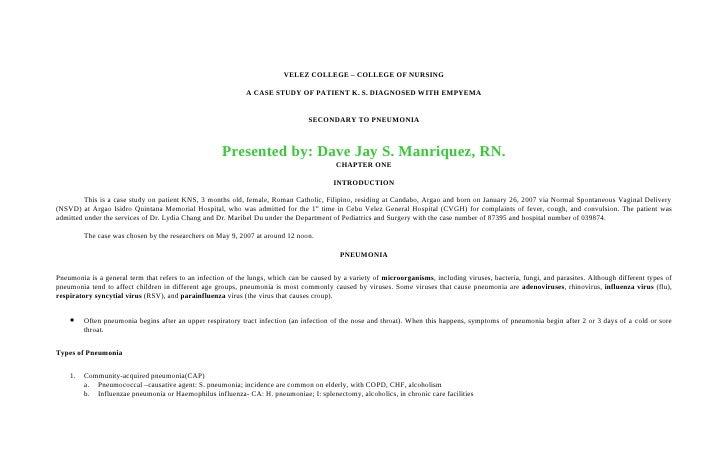 VELEZ COLLEGE – COLLEGE OF NURSING                                                               A CASE STUDY OF PATIENT K...