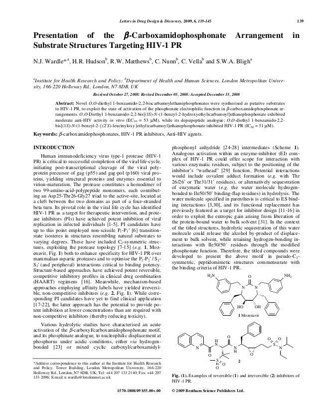 Letters in Drug Design & Discovery, 2009, 6, 139-145 139 1570-1808/09 $55.00+.00 © 2009 Bentham Science Publishers Ltd. Pr...