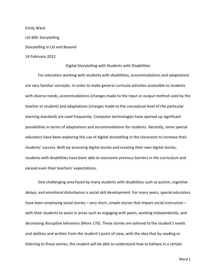 Emily WardLIS 409: StorytellingStorytelling in LIS and Beyond14 February 2012                        Digital Storytelling ...