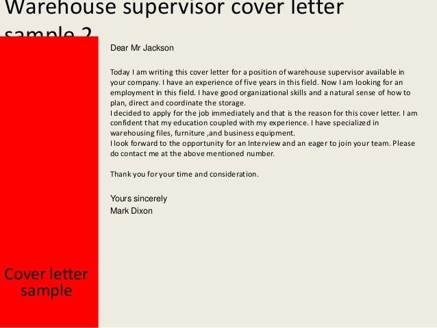 Warehouse supervisor cover letter for How to write a cover letter for supervisor position
