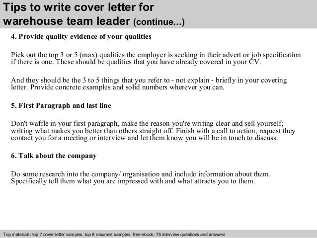 warehouse team leader cover letter Warehouse team leaders must be able to manager staff and keep them motivated.