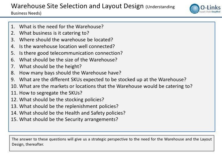 warehousing layout design and processes setup