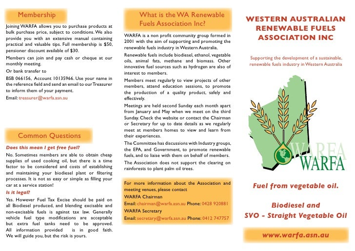 Fuel from Vegetable Oil - Western Australian