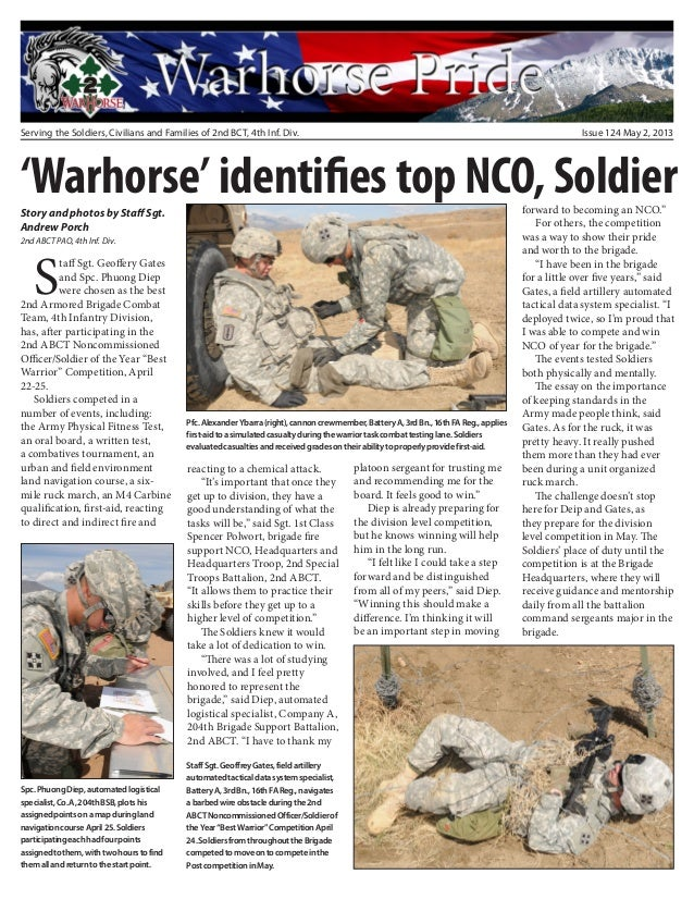 Serving the Soldiers, Civilians and Families of 2nd BCT, 4th Inf. Div. Issue 124 May 2, 2013Staff Sgt. Geoffery Gatesand ...