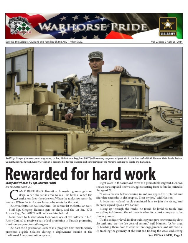 Serving the Soldiers, Civilians and Families of 2nd ABCT, 4th Inf. Div. Vol. 2, Issue 9 April 25, 2014 Staff Sgt. Gregory ...