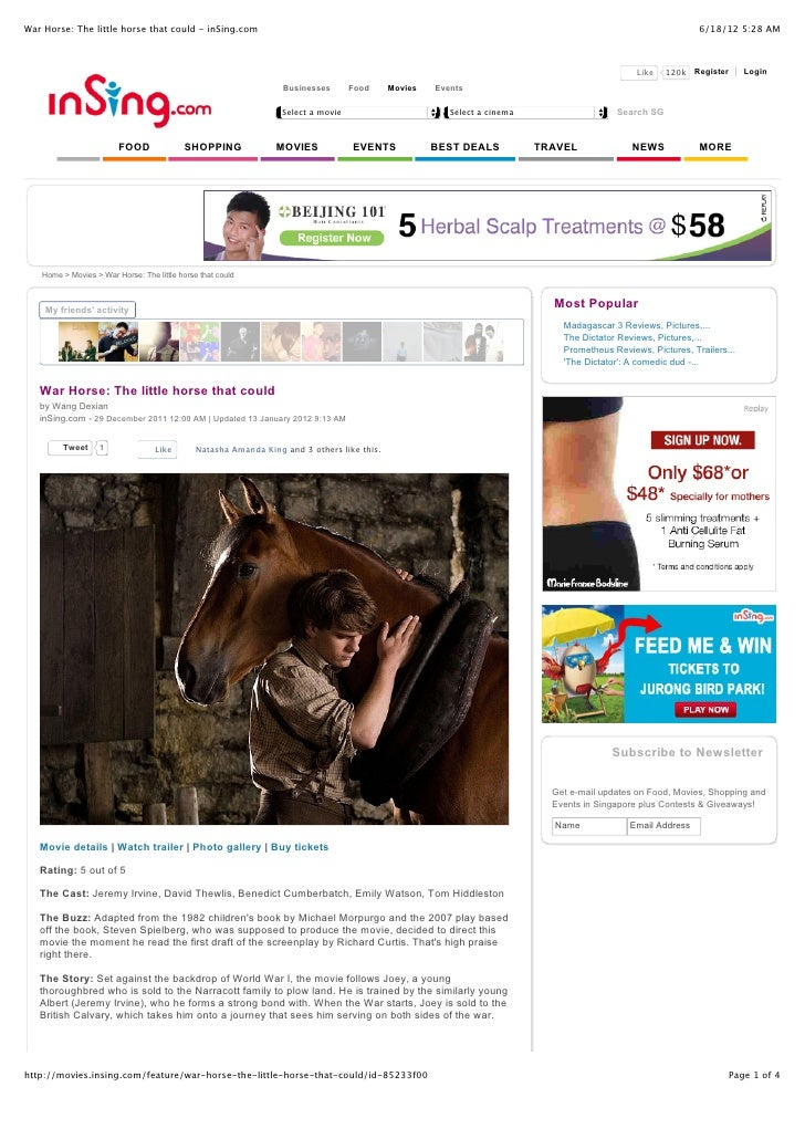 War Horse: The Little Horse That Could   In Sing.Com