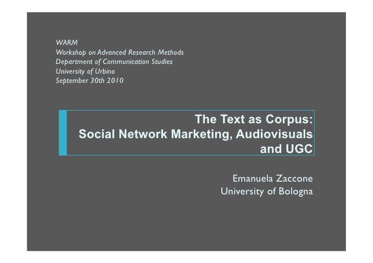 The Text as Corpus: Social Network Marketing, Audiovisuals and UGC