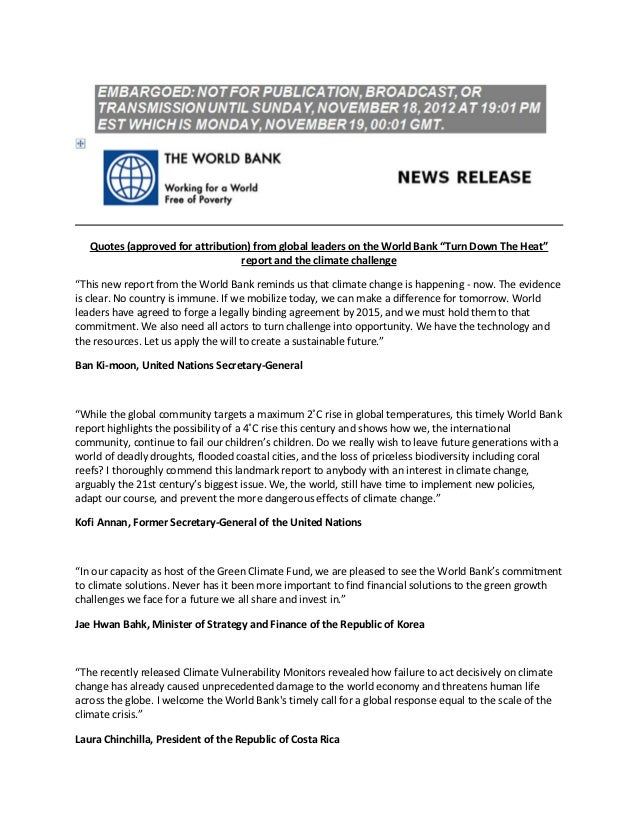 Reactions to World Bank Warming Warning