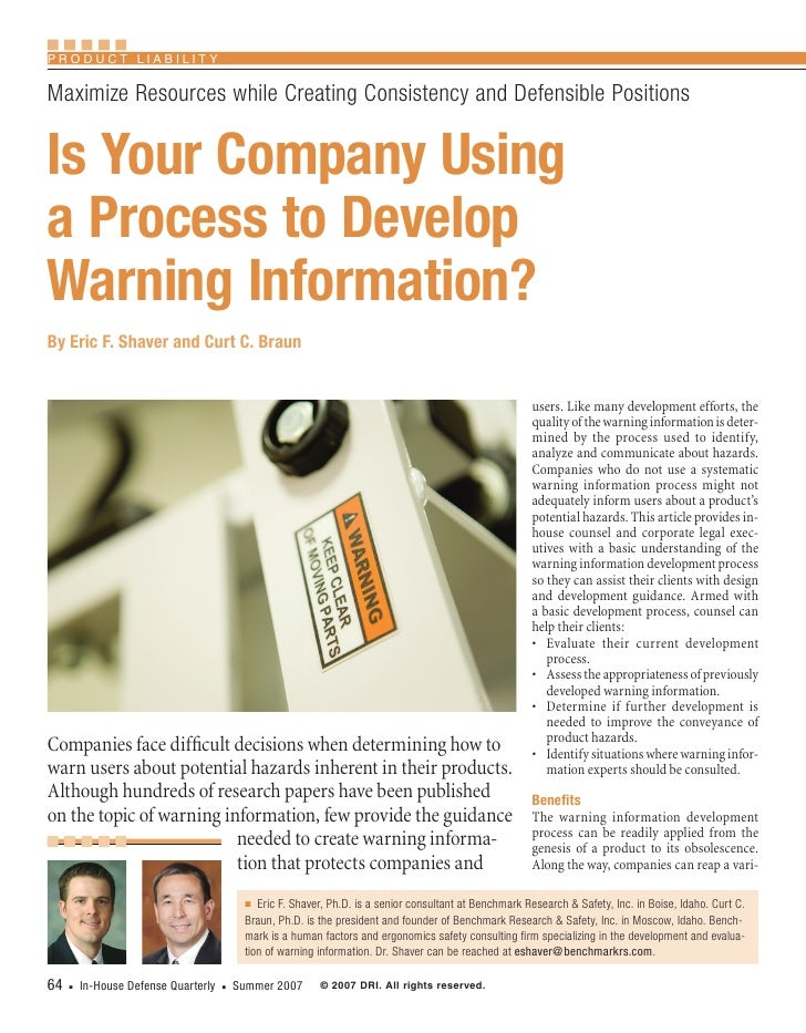 Product LiabiLity  MaximizeResourceswhileCreatingConsistencyandDefensiblePositions   Is Your Company Using a Proces...