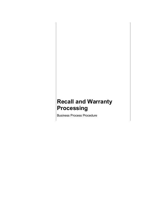 Warranty processing recall bbp