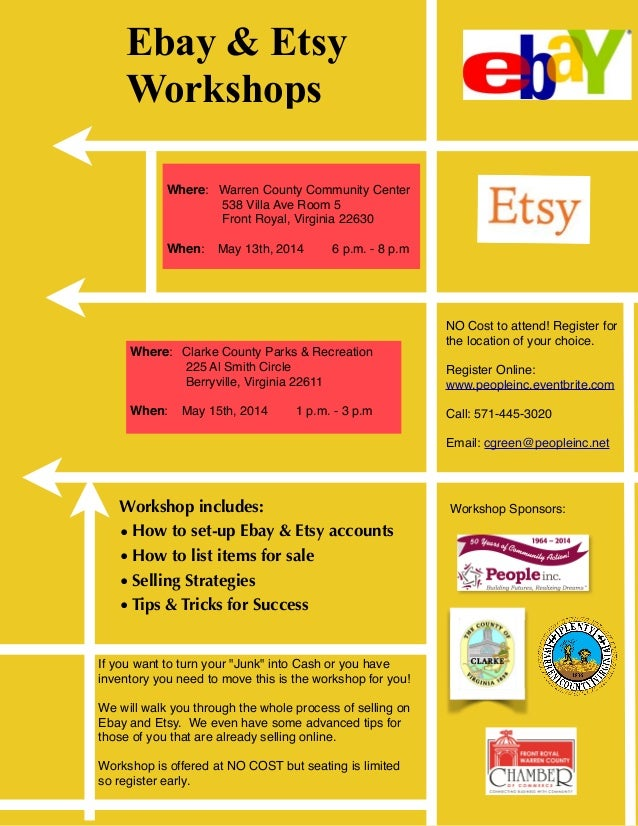 Ebay & Etsy Workshops Workshop includes: •How to set-up Ebay & Etsy accounts •How to list items for sale •Selling Strategi...