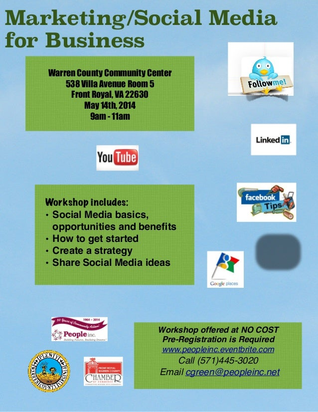 Workshop includes: • Social Media basics, opportunities and benefits • How to get started • Create a strategy • Share Socia...