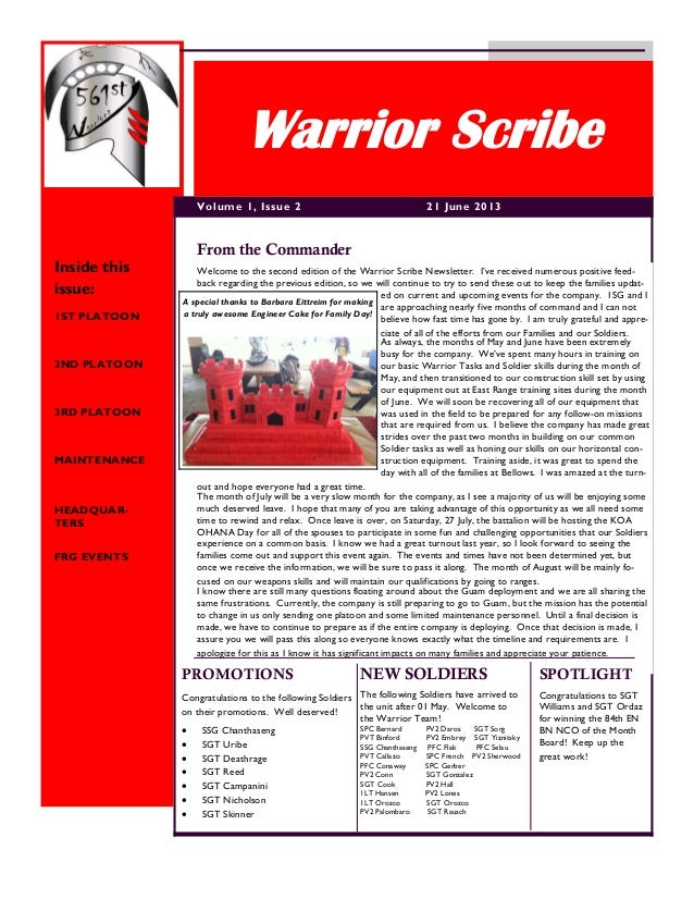 Welcome to the second edition of the Warrior Scribe Newsletter. I've received numerous positive feed- back regarding the p...