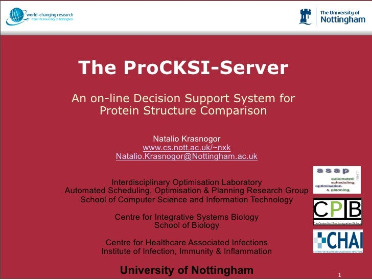 The ProCKSI-Server                  An on-line Decision Support System for                      Protein Structure Comparis...