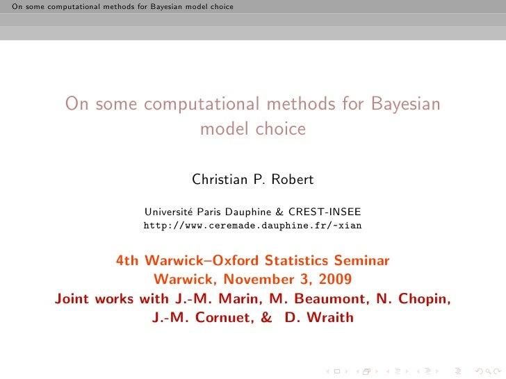 4th joint Warwick Oxford Statistics Seminar