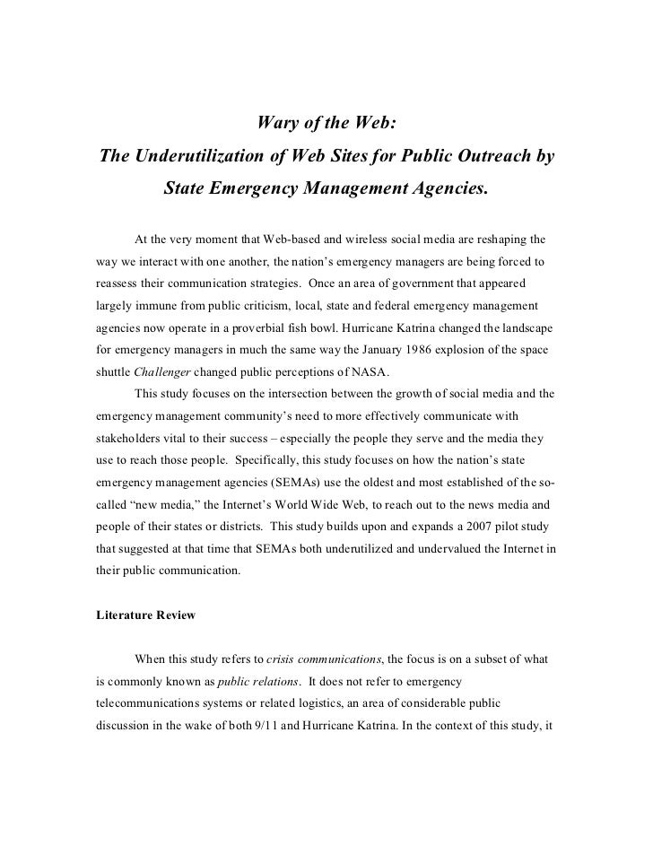 Wary of the Web:The Underutilization of Web Sites for Public Outreach by             State Emergency Management Agencies. ...