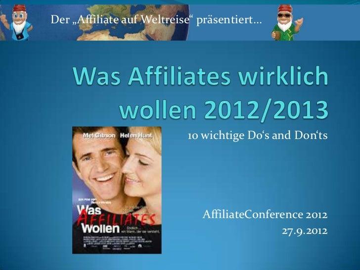"""Der """"Affiliate auf Weltreise"""" präsentiert…                           10 wichtige Do's and Don'ts                          ..."""