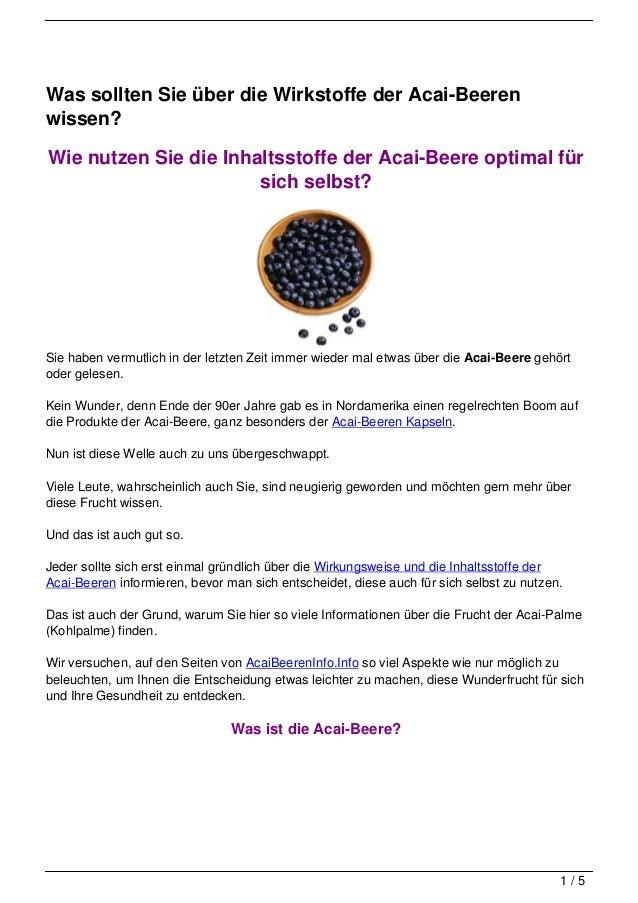 Was sollten Sie über die Wirkstoffe der Acai-Beerenwissen?Wie nutzen Sie die Inhaltsstoffe der Acai-Beere optimal für     ...