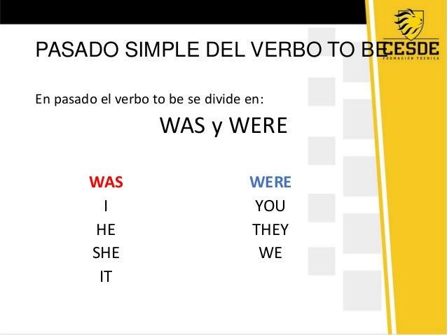 PASADO SIMPLE DEL VERBO TO BEEn pasado el verbo to be se divide en:WAS y WEREWASIHESHEITWEREYOUTHEYWE