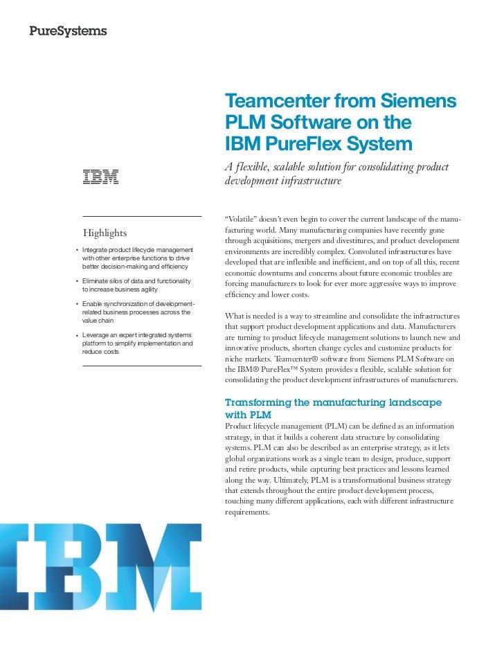 Teamcenter from Siemens  PLM Software on the  IBM PureFlex System