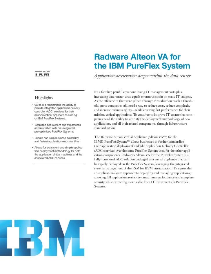 Radware Alteon VA for                                                     the IBM PureFlex System                         ...