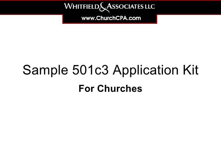 Sample 501c3 Application Kit For Churches