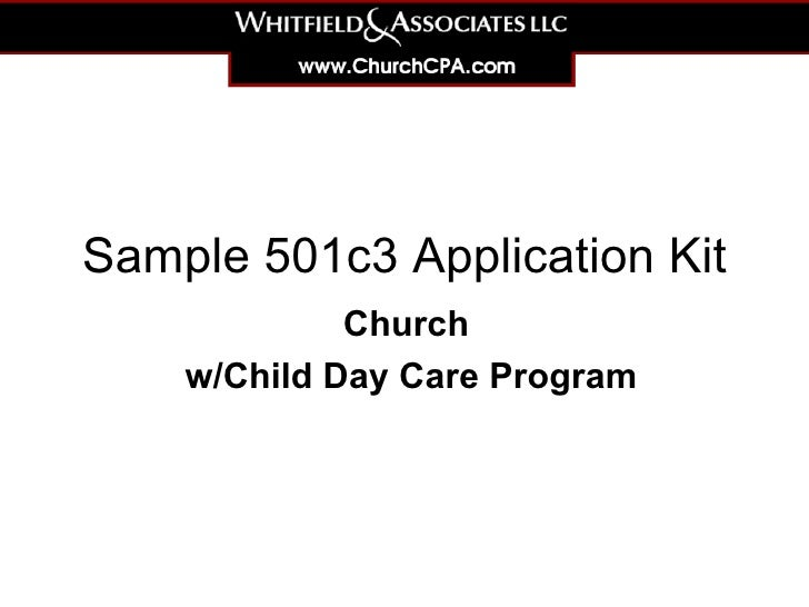 Sample 501c3 Application Kit Church  w/Child Day Care Program