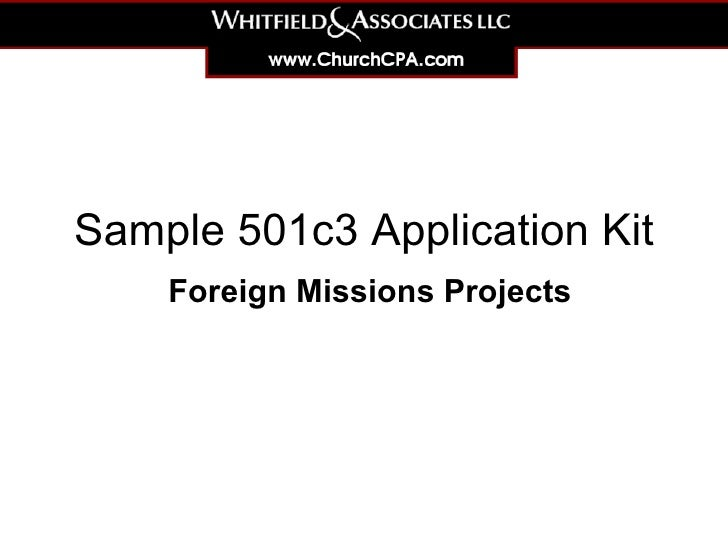 Sample 501c3 Application Kit Foreign Missions Projects