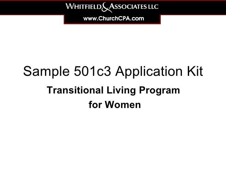 Sample 501c3 Application Kit Transitional Living Program  for Women