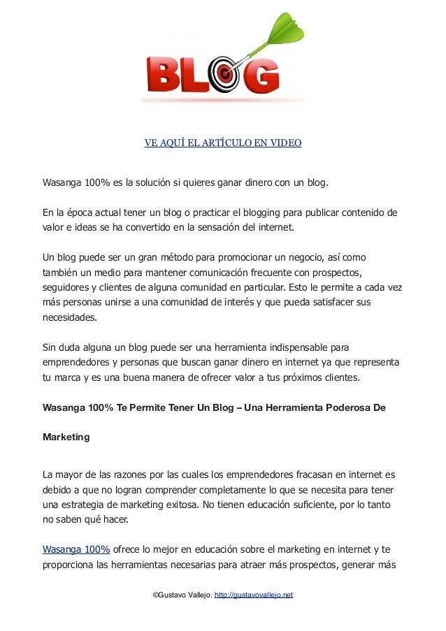Wasanga 100% - Como Ganar Dinero Con Un Blog