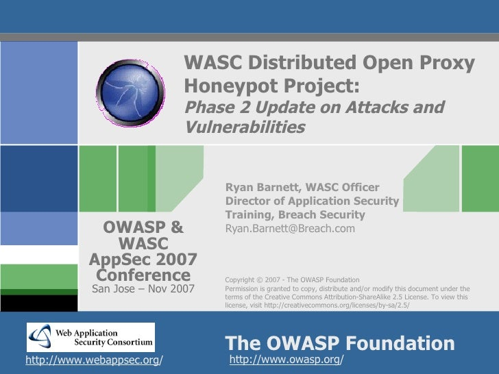 WASC Distributed Open Proxy                             Honeypot Project:                             Phase 2 Update on At...