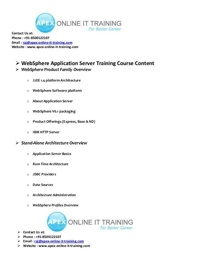 WAS ONLINE TRAINING COURSE CONTENT