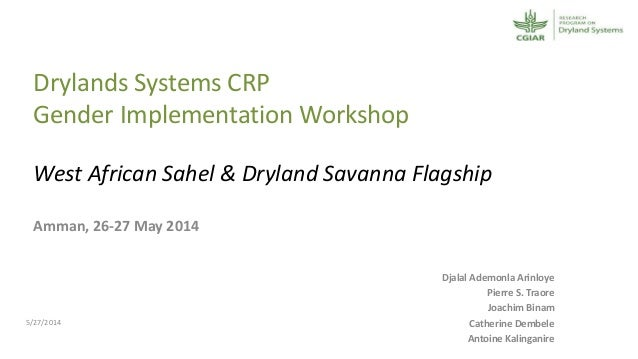 Drylands Systems CRP Gender Implementation Workshop West African Sahel & Dryland Savanna Flagship Amman, 26-27 May 2014 Dj...