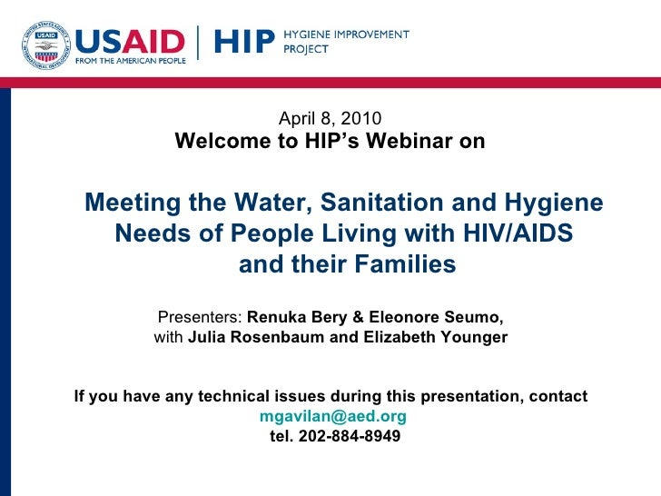 Meeting the Water, Sanitation and Hygiene Needs of People Living with HIV/AIDS  and their Families