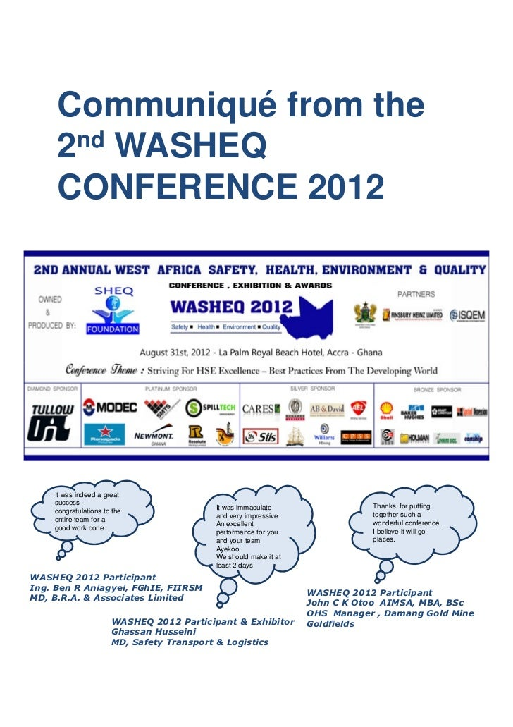 Communiqué from the     2nd WASHEQ     CONFERENCE 2012    It was indeed a great    success -                              ...