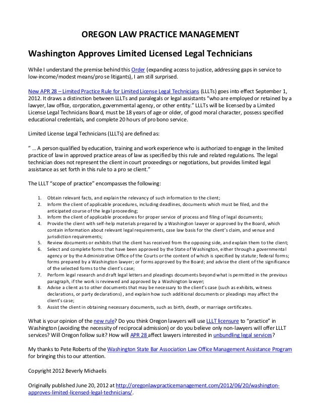 Washington Approves Limited License Legal Technicians