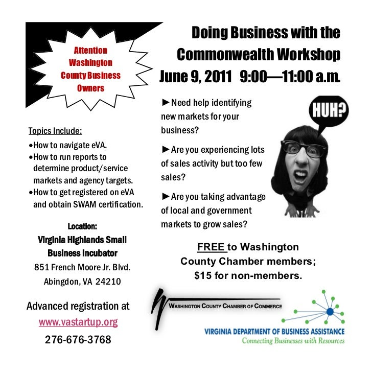 Washington County Doing Business with the Commonwealth Workshop, June 9, 2011