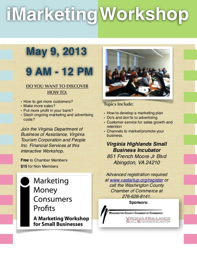 njSponsors:iMarketingWorkshopDO YOU WANT TO DISCOVERHOW TO:• How to get more customers?• Make more sales?• Put more profit ...